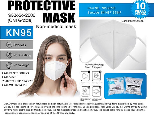 100 KN95 Masks $1.90/each - 10PC Polybag Pack Non-medical