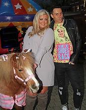 Gemma Collins met Cambridge Shetland Pony Parties famous Honey Bee