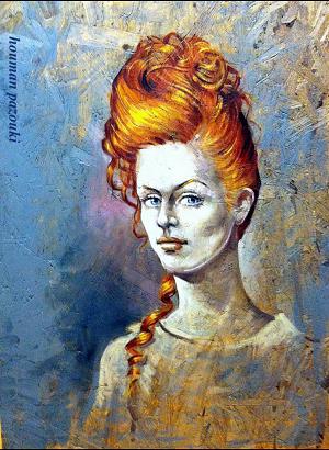 Portrait on wood panel by Houman Pazouki
