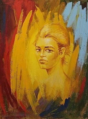 Portrait on wood by Houman Pazouki.