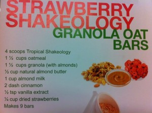 Strawberry Shakeology Granola Oat Bars