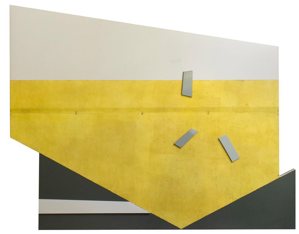 Compositie 3 elementen • Lak, polyester, MDF en triplex op ijzeren frame