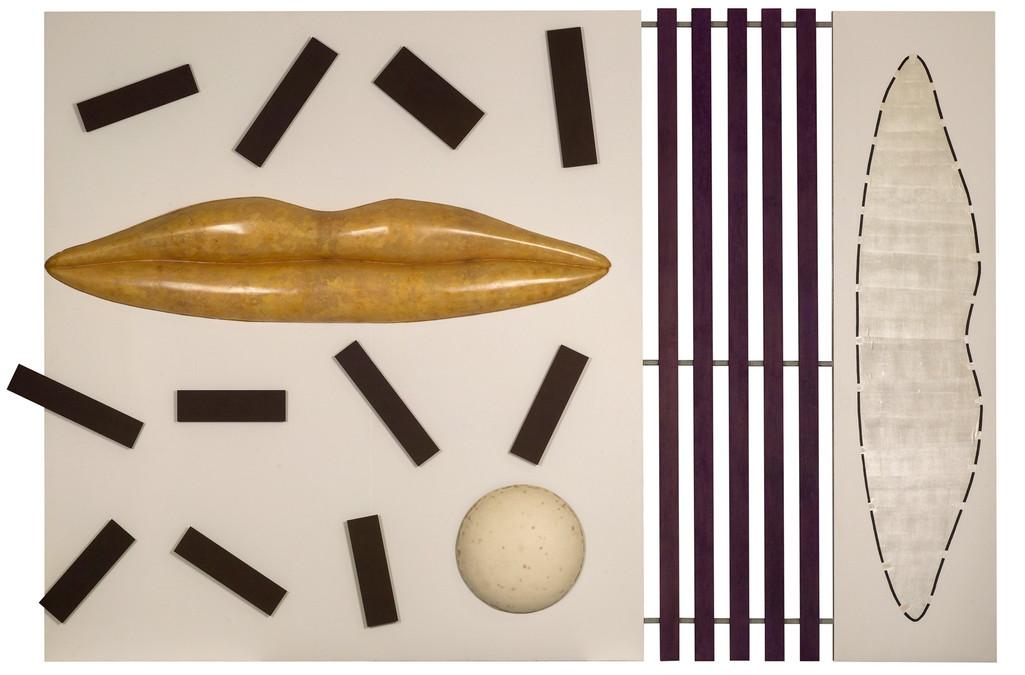 Assemblage van verschillende elementen: MDF panelen, polyester, triplex, papier, latex en acryl op multiplex (bewegende compositie met electromotoren)