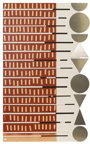 Compositie 3 • Assemblage van verschillende elementen: hout, lak, gesso en inox op ijzeren frame