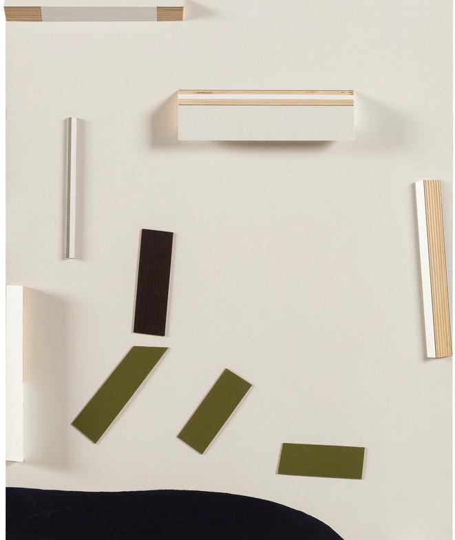 Wit op relief • Collage met houten elementen en fineer op paneel