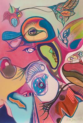 Indiaan 1 • Aquarel, kleurpotlood en pastel op papier