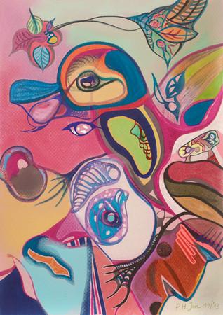 Aquarel, kleurpotlood en pastel op papier