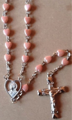 Rosary Pink Pearl heart shape