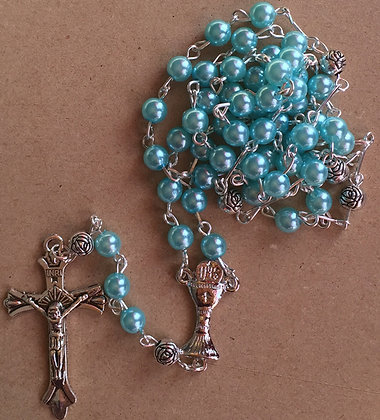 Rosary Pearl Blue with Communion Cross