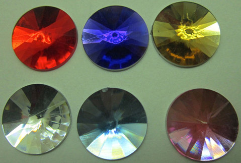 Acrylic Crystal flat bottom Deco in 7 colors [50709- 50715]