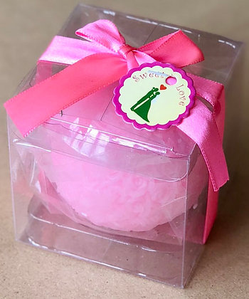 Rose ball Scented Candle pink