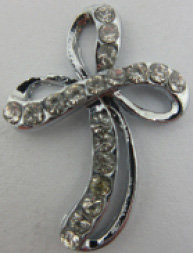 Cross Metal Bow style with stone on it [50903]