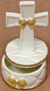 Storage box with Baby Cross & Ivory Bows