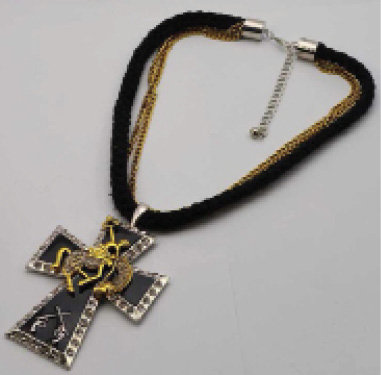Cross Necklace w/ double Heavy Ropes and Metal Cross