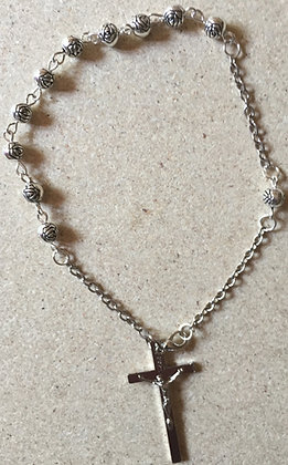 Car Rosary Oxidized Silver Beads [54607]