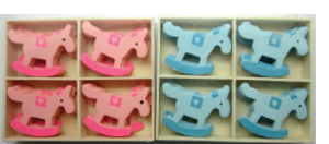 Rocking Horse Pink/blue wooden Deco [54544-45]