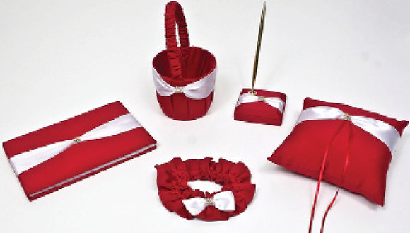Bridal Set White on Red [16119-23]