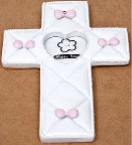 Hanging Picture Frame Baby Cross with Pink Bows [14720]