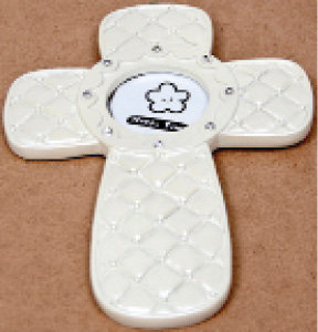 Hanging Picture Frame Baby Cross in Ivory