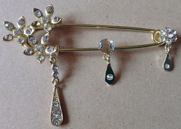 Brooch silver pin with blue stones [24014]