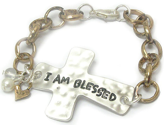 """I AM BLESSED"" Bracelet with Heavy Chain"