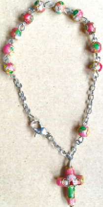Car Rosary/ Bracelet Pink Clossionne Work
