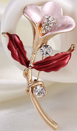 Brooch Alloy Gold Lilly shape [11326-3]