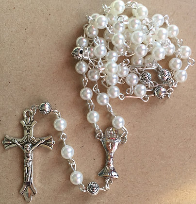 Rosary pearl white with communion Cross