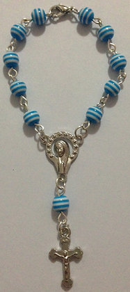 Cat eye Blue Bracelet with Mary