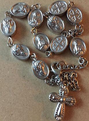 Oxidized silver Rosary Cross/oval shape beads