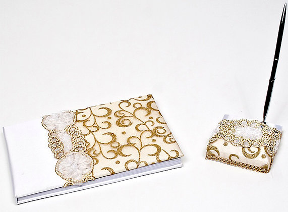 Golden Zari Design Pen & Book Bridal Combo [16149]