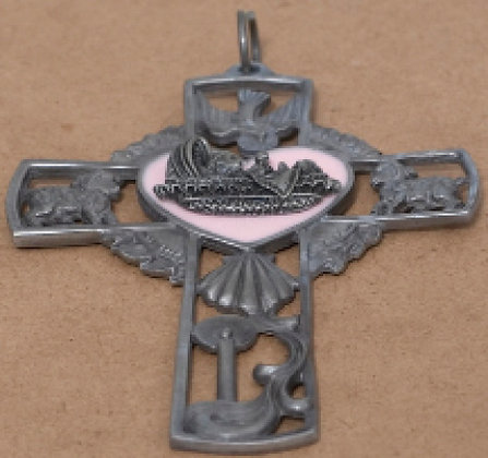 Hanging Metal Communion Crucifix Pink Pink [15124]