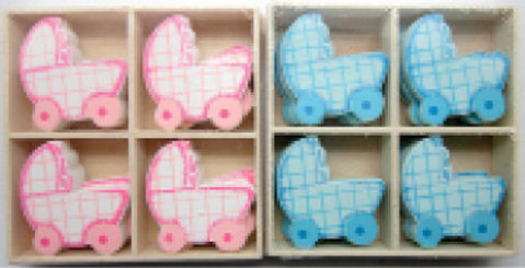 Baby cart Wooden Blue/pin [54543]