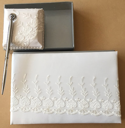 Pen & Book white Zari work