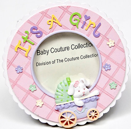 "Pink Round ""It's A Girl"" Picture Frame"