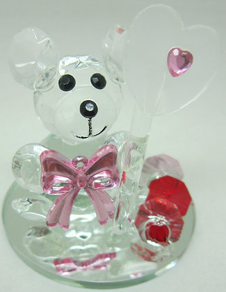 Glass Teddy Bear w/ Decoration