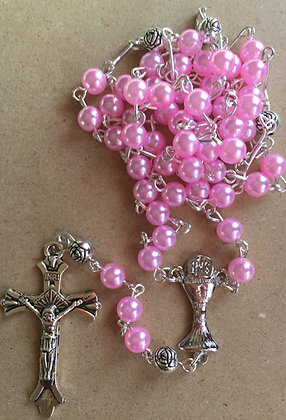 Rosary Pink Pearl with communion Cross