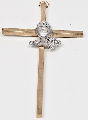 Hanging Gold Metal Frist Communion Cross [15089]