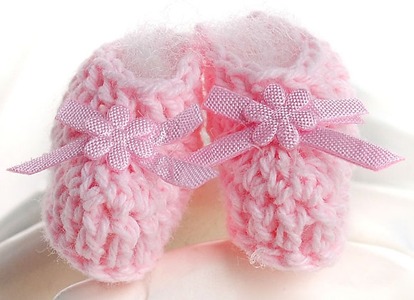 Pink Mini Crocheted Baby shoes 12 pairs