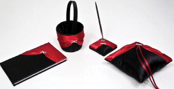 Bridal set Red & Black satin