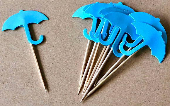 Blue Umbrella Cake Pick