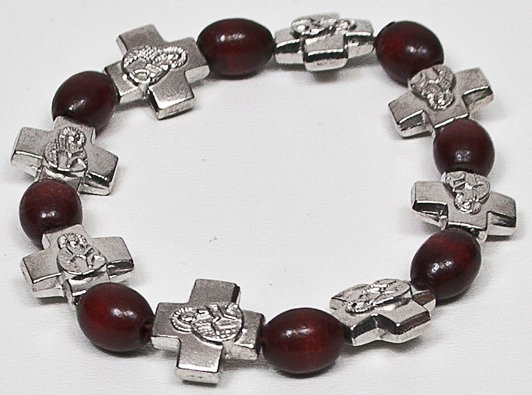 Bracelet with Metal Cross Saints on it & Wooden Beads