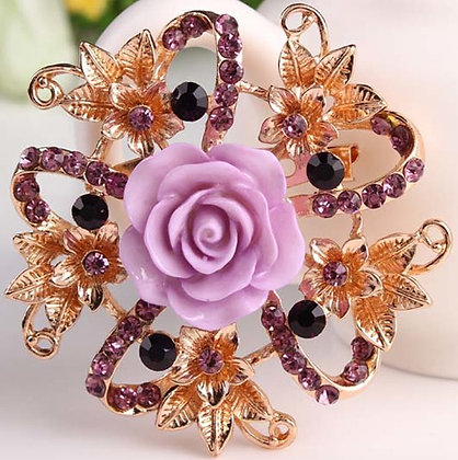 Brooch Gold Alloy & ceramic  Flower