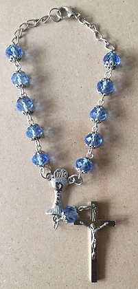 Blue Beads with Communion Cup Car Rosary