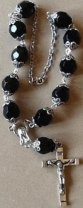 Car Rosary Black Glass Beads 12mm