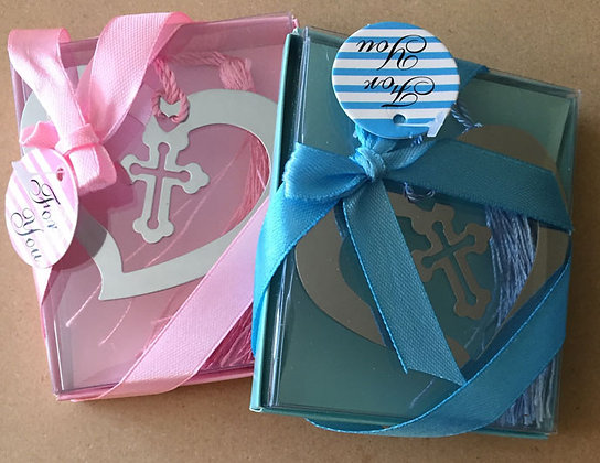 Heart cross Metal Book Mark Blue&Pink