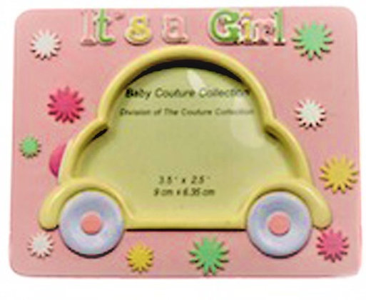 "Pink car ""It's A Girl"" Picture Frame"
