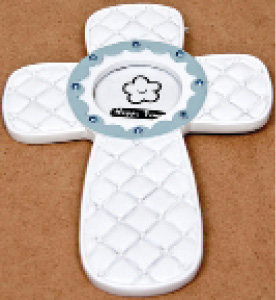 Hanging Picture Frame Baby Cross in Blue [14725]