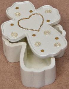 Baby Cross Box with Ivory Heart [14745]