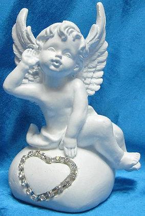 Angel with rhinestone 4pcs heart shape [18103]